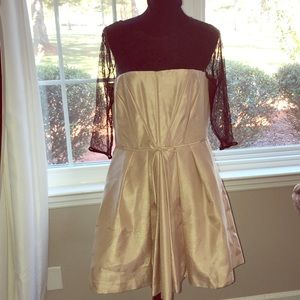 Tan and lace dress by Just Taylor Woman SZ-12 new